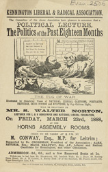 Advertisement for a meeting of the Kennington Liberal and Radical Association